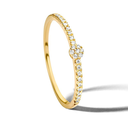 Bague mini pavé diamants or jaune Pigou