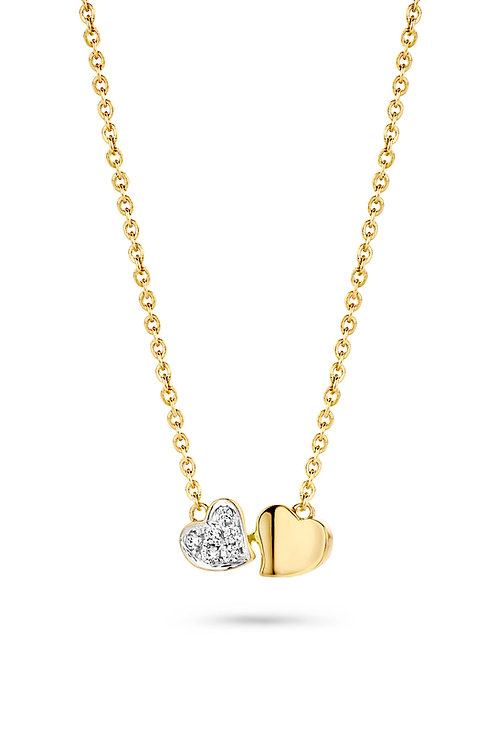 Collier coeurs en or jaune et diamants Dulci Nea
