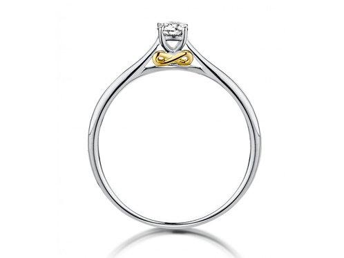 Solitaire motif infini or blanc/jaune et diamant Dulci Nea
