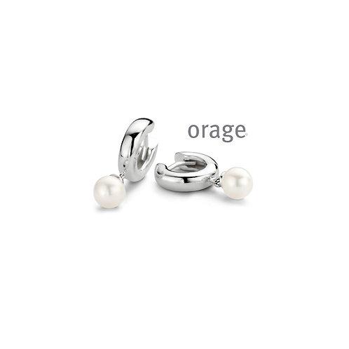 Boucles d'oreille Orage AR012 en argent rhodié et perles