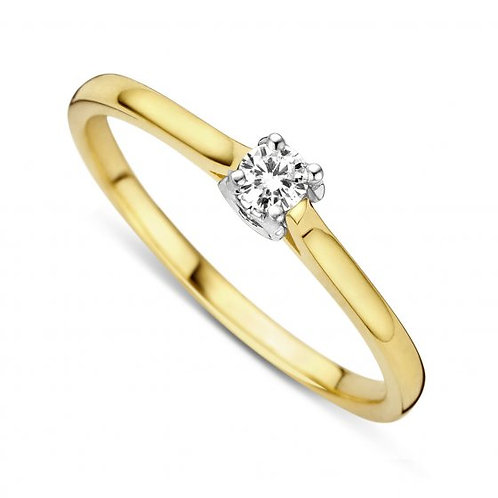 Solitaire motif coeur or jaune/orblanc et diamant Dulci Nea