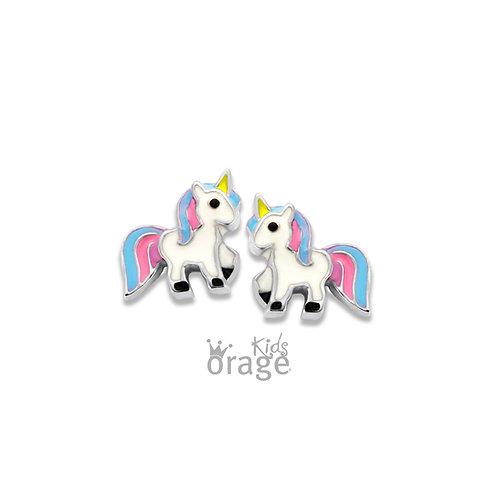 Boucles d'oreille Orage Kids K1851 licornes en argent rhodié et laque