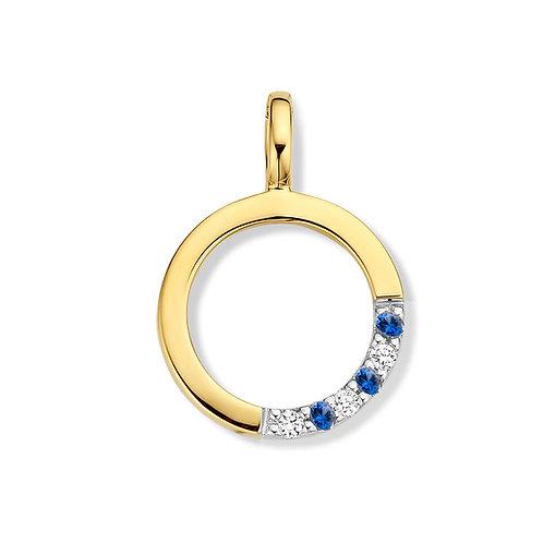 Pendentif rond or jaune, saphirs et diamants Beheyt