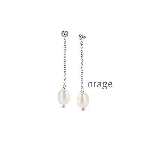 Boucles d'oreille Orage AR016 en argent rhodié et perles