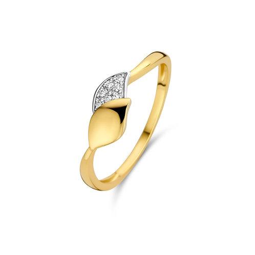 Bague motif feuilles or jaune et diamants Beheyt