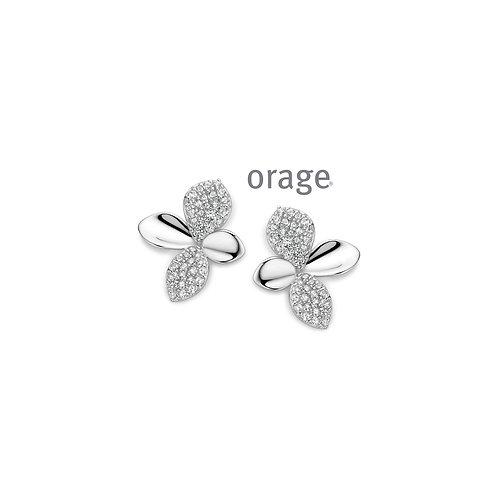 Boucles d'oreille Orage AP098 en argent rhodié et oxydes de zirconium