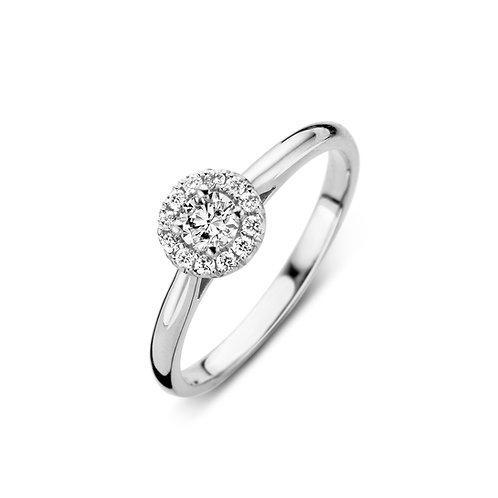Bague pompon maxi en or blanc et diamants BLOCH