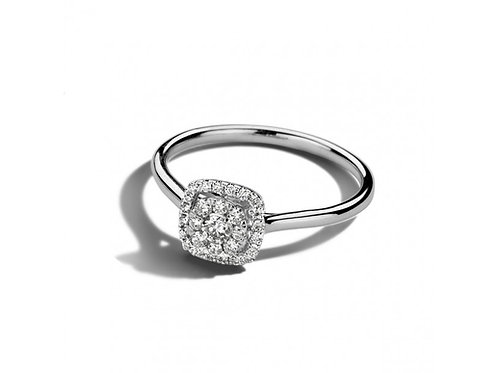 Solitaire pavé carré diamants or blanc Dulci Nea
