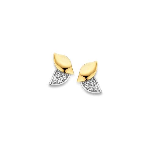 Boucles d'oreille motif feuilles  en or jaune et diamants Beheyt