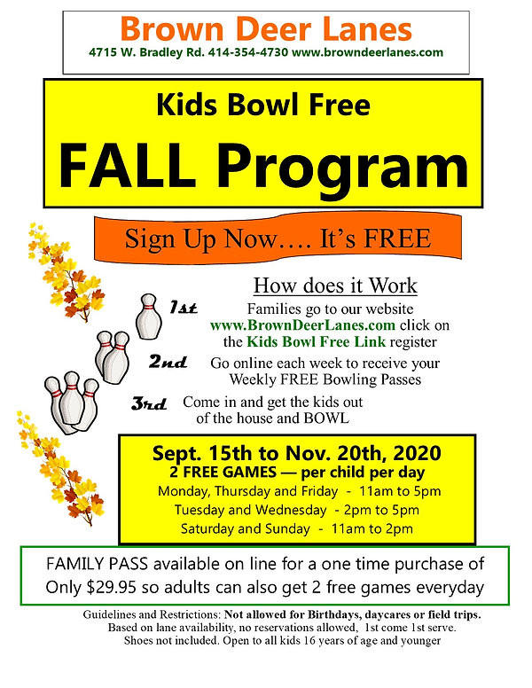 BDL Flyer for Kids Bowl Free FALL 2020 C