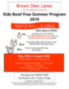 BDL Flyer for Kids Bowl Free 2019 Colore