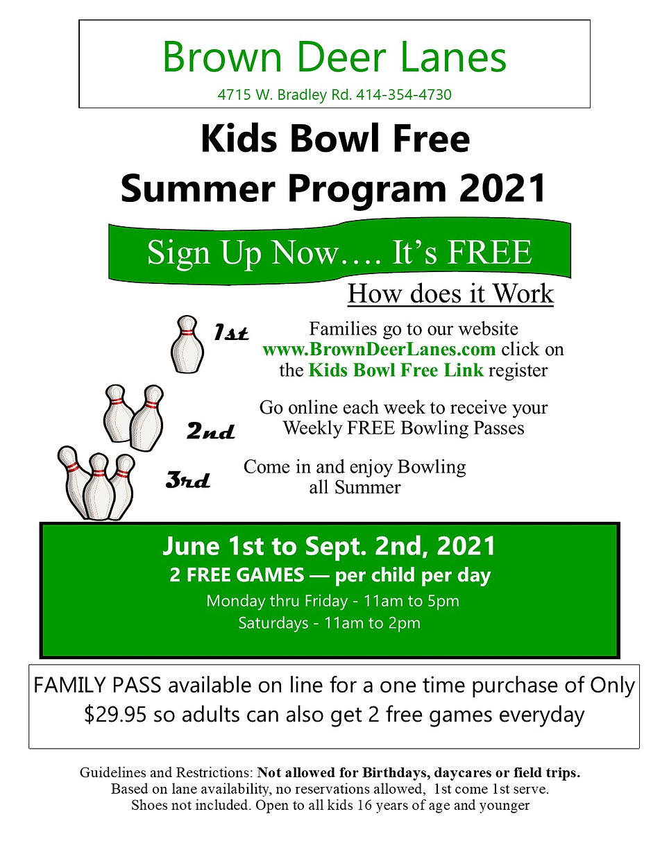BDL Flyer for Kids Bowl Free 2021 Colore