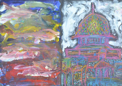 Jerusalem. Dry pastel and acrylic.