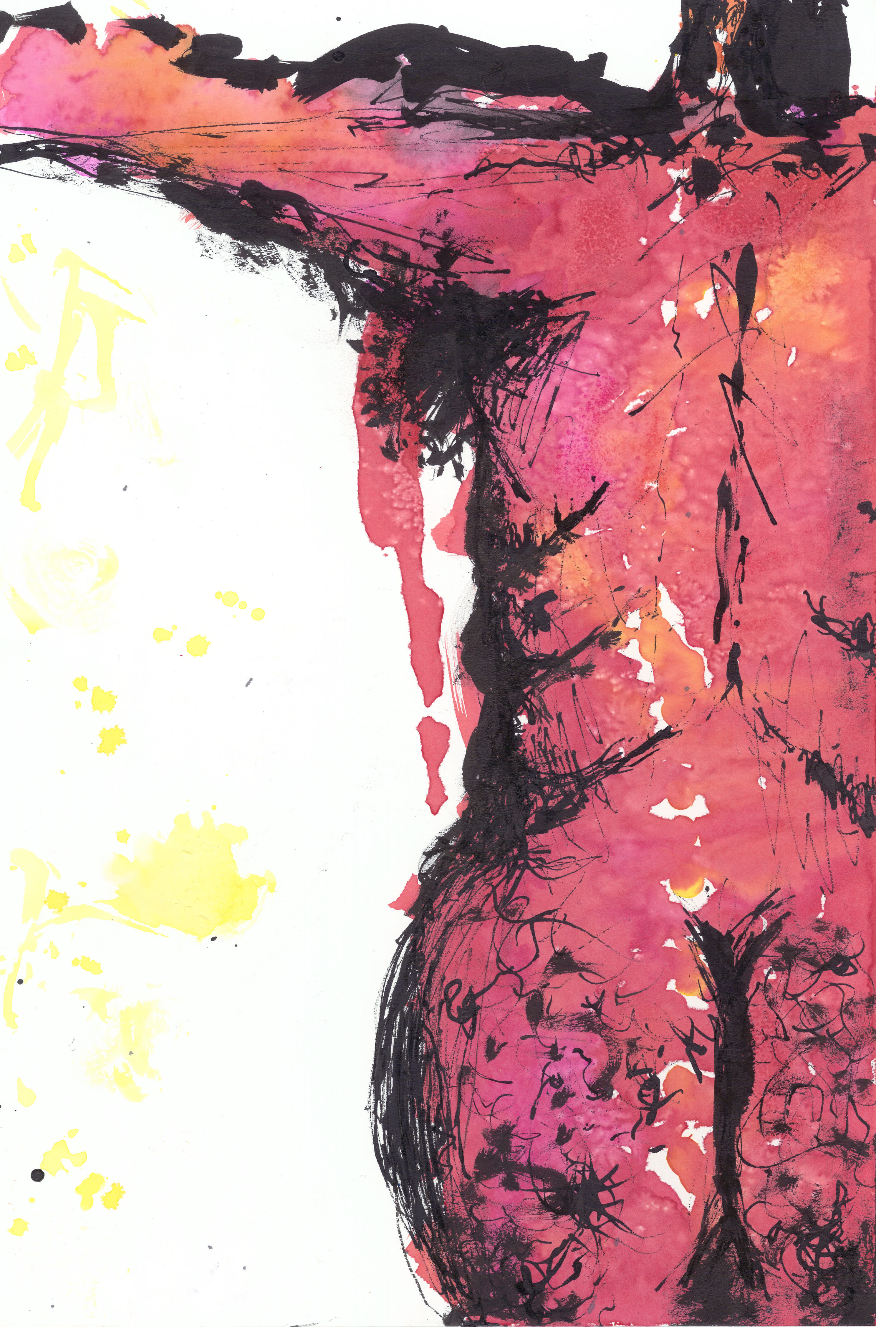 Untitled 3. Watercolor, salt, ink.