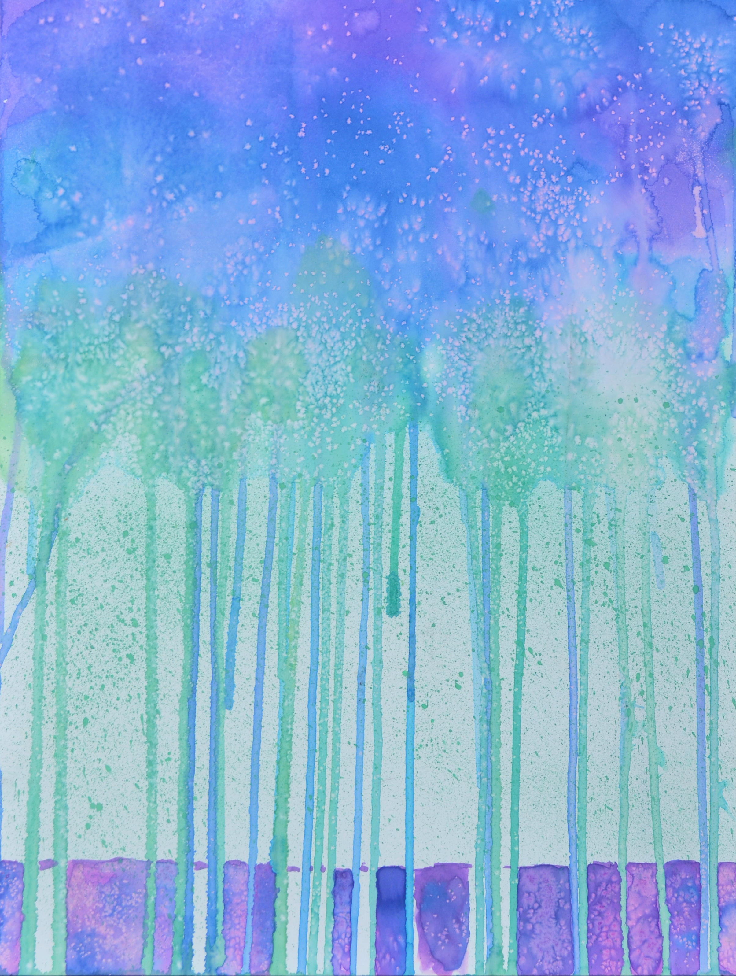 Salt Woods. Watercolor & salt.