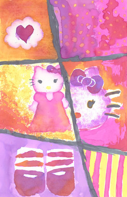 Hello Kitty. Watercolor and salt.
