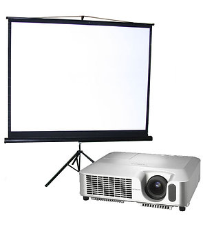 Video projector, 2,200 lumens + 200 watt speaker and screen package