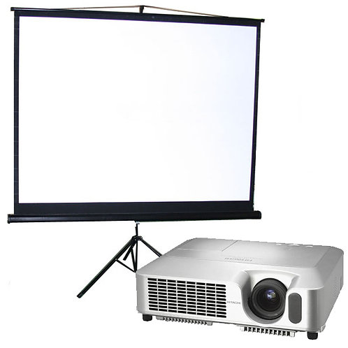 Video projector, 2,200 Lumens and screen