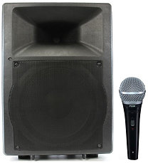 Semi-Pro 200w Powered Speaker w/ Corded Mic