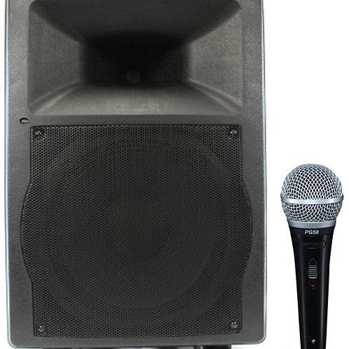 Semi-Pro 200w Powered Speaker w/ Corded Mic
