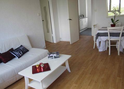 home staging d'un séjour realisé à Mérignac pour vendre plus vite, l'appartement à été meublé avec du mobilier loué chez le grain de sel