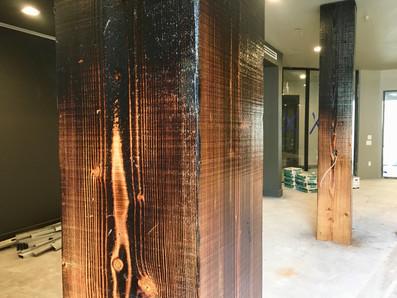 charred wood column