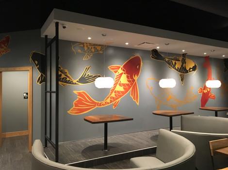 metalin koi fish mural