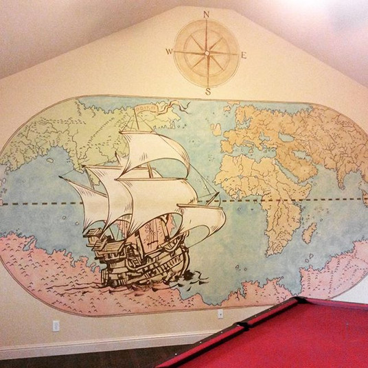 old map mural