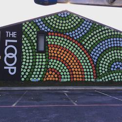Apartment building wall mural