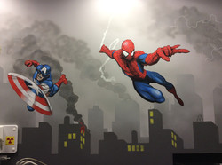 Hand painted Spiderman mural