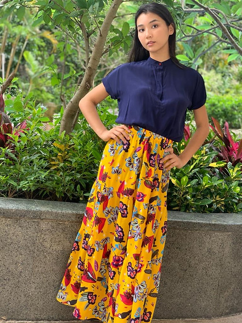 """""""Bagan"""" blue navy silk blouse with coral button, """"Goa"""" skirt in """"Botanic"""""""