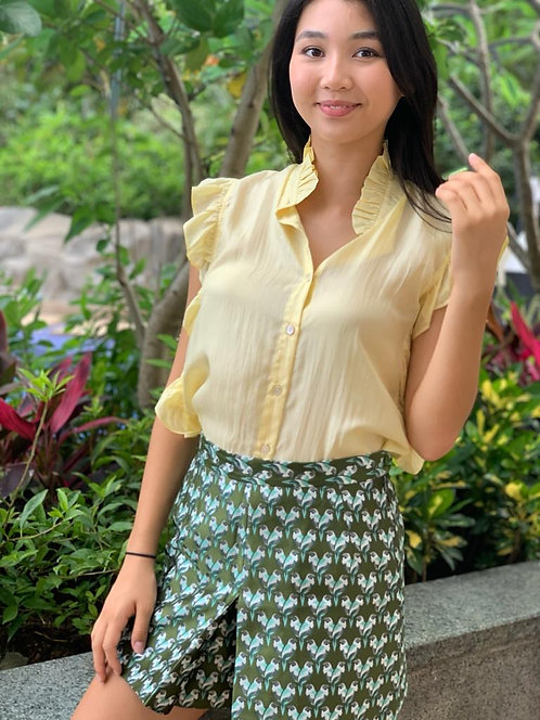 """Phuket"" silk blouse, ""Bukit"" shorts in printed brocade"