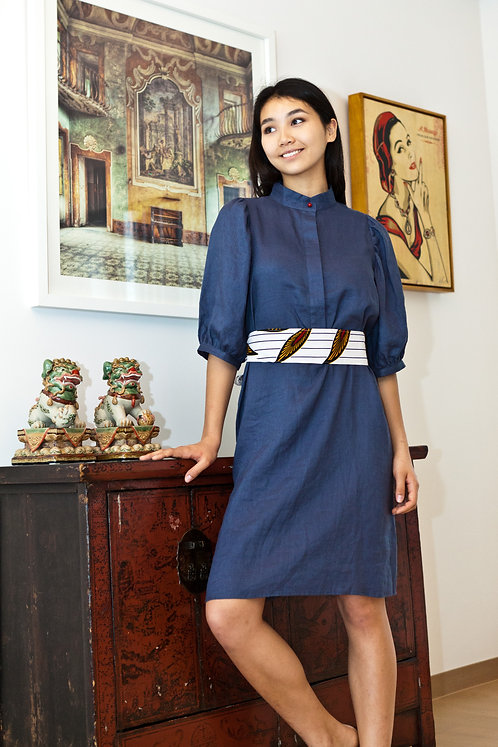 """""""Kyoto"""" linen dress with coral button and African cotton belt"""