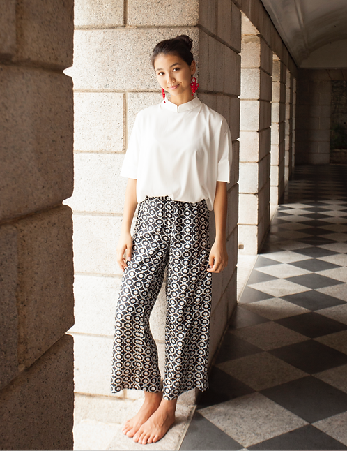"""Yunnan"" silk blouse, ""Ubud"" silk trousers"