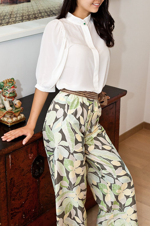 """""""Kyoto"""" silk blouse with green jade button, """"Ubud"""" silk trousers"""