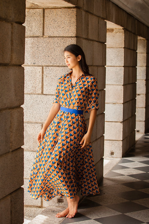 """Siem Reap"" long silk chemisier dress"