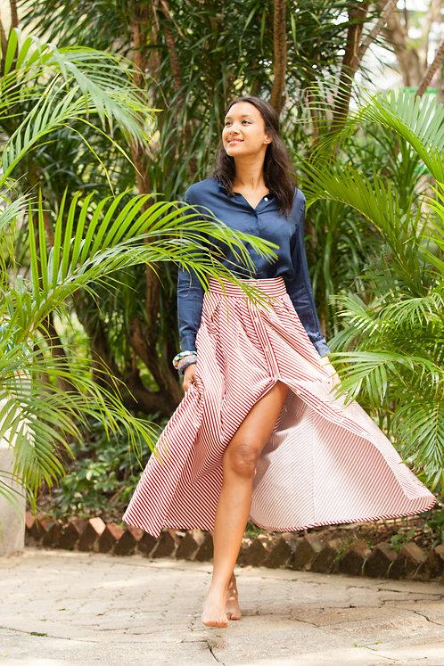 """Saigon"" long sleeves silk blouse with cufflinks & ""Galle"" cotton skirt"