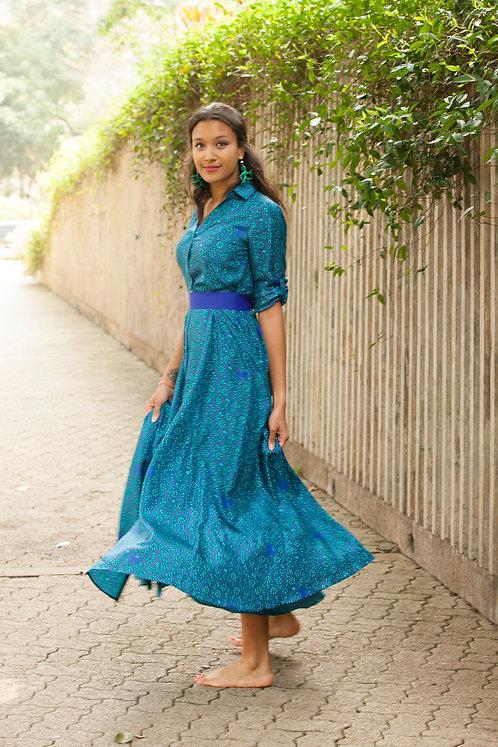 """Siem Reap"" long silk chemisier dress"