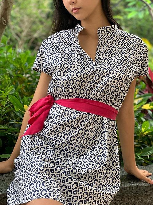 """Seoul"" cotton dress in ""Maharani"" print with silk belt"