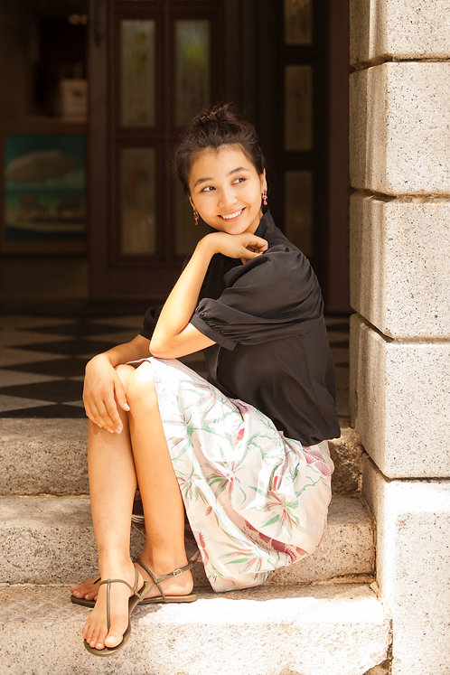 """Kyoto"" silk blouse with coral button, ""Ventiane"" brocade skirt"