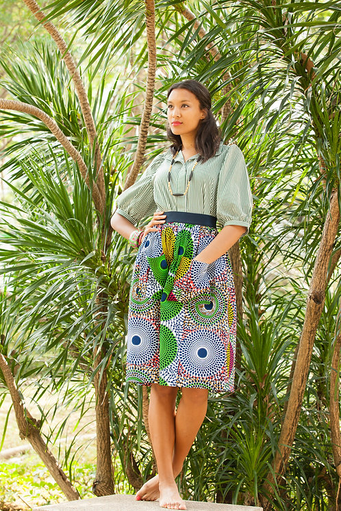"""Kyoto2 cotton shirt, ""Uganda"" cotton skirt with pockets"