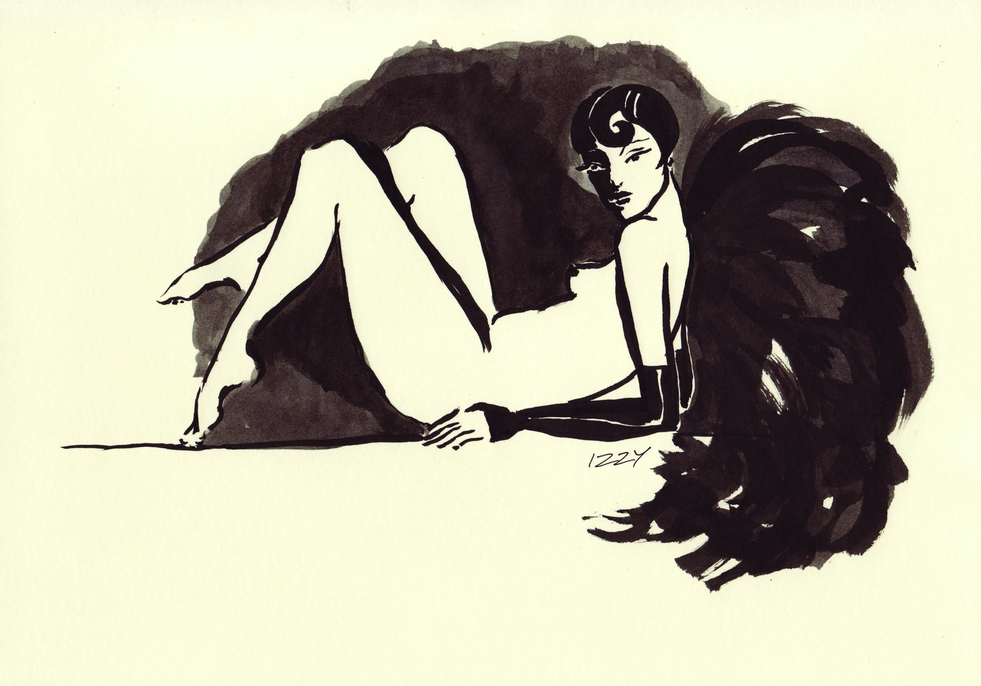 Reclining burlesque dancer