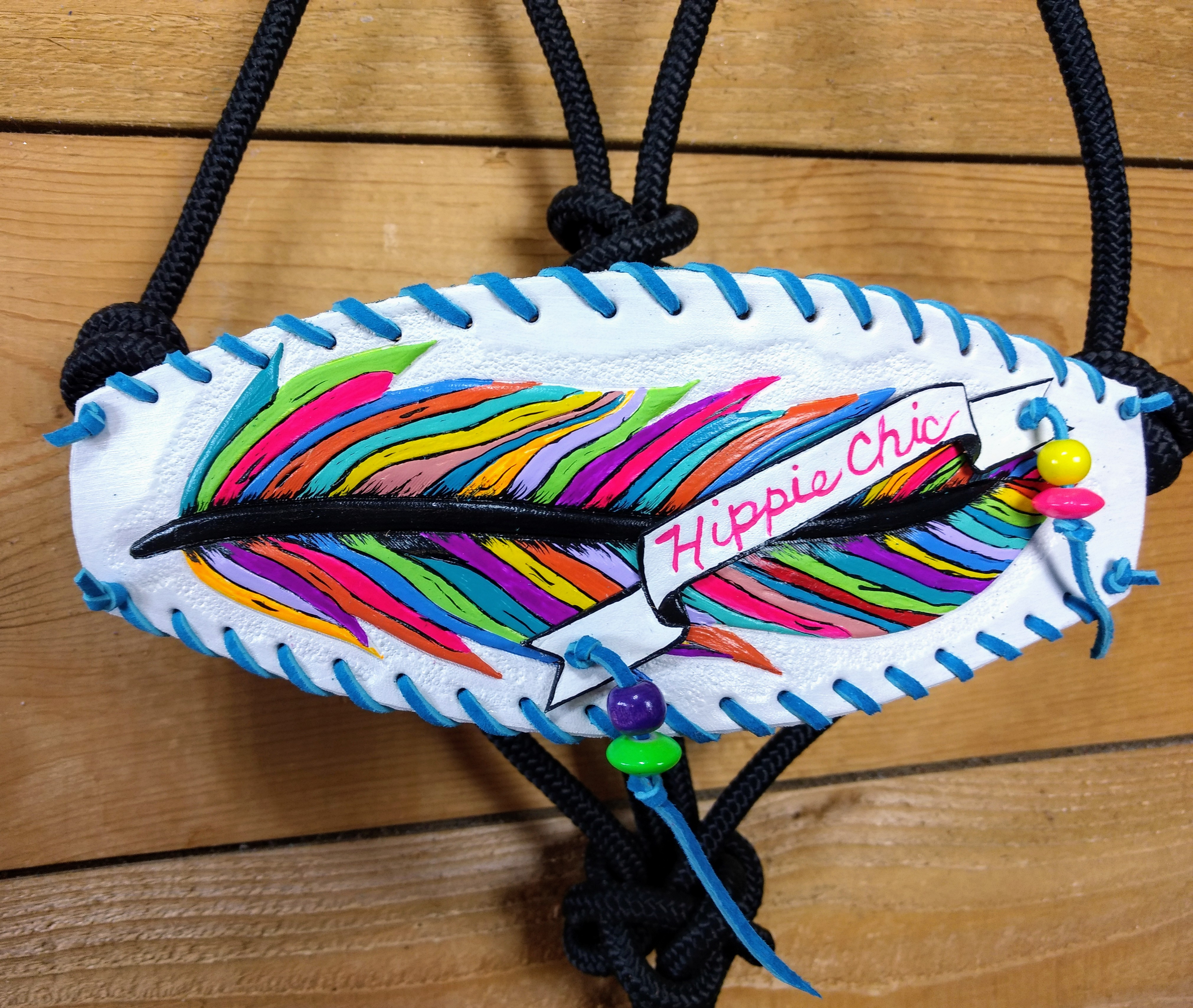 H940 $125 Hippie Chic white feather