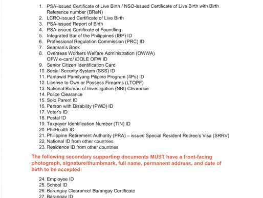 SUPPORTING DOCUMENTS FOR NATIONAL ID