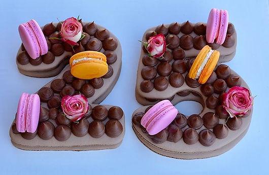 A chocolate macaron cake for a 25th birt