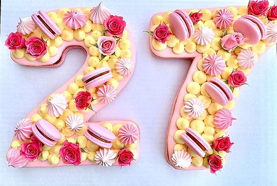 Birthday Macaron Cake made from two gian