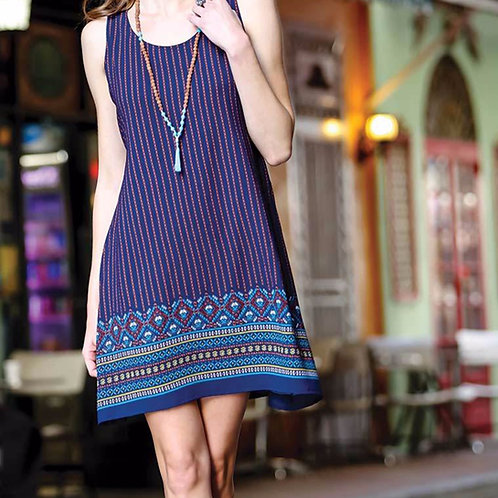 Boho Style Blue Print Dress