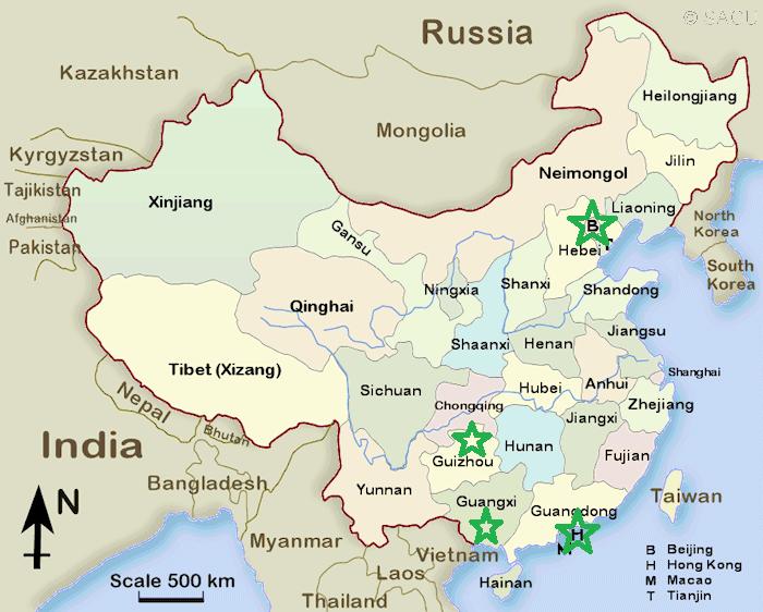 Die bevorstehenden Provinzen (grüner Stern)