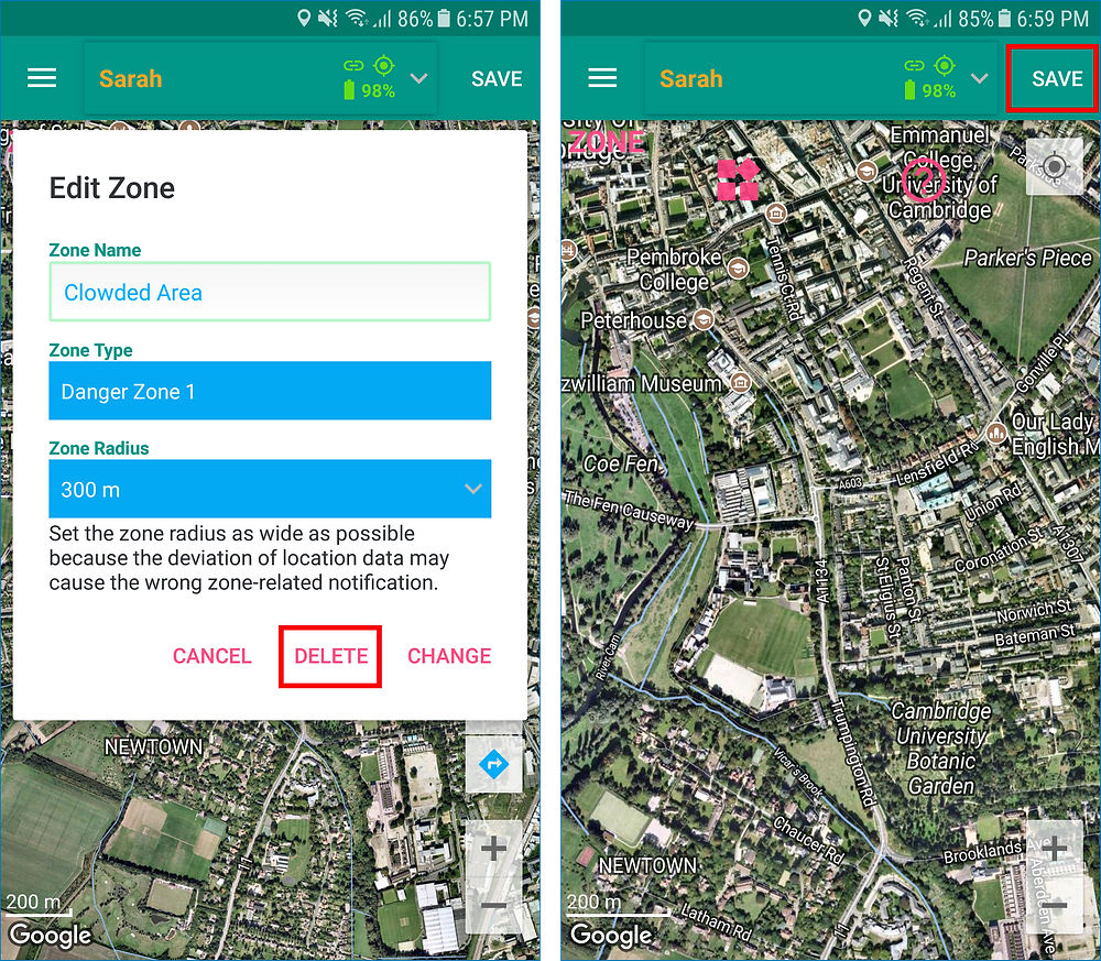 GeoFamily Controller App User Saves Deleted Zone - Screen | GPS Tracking App