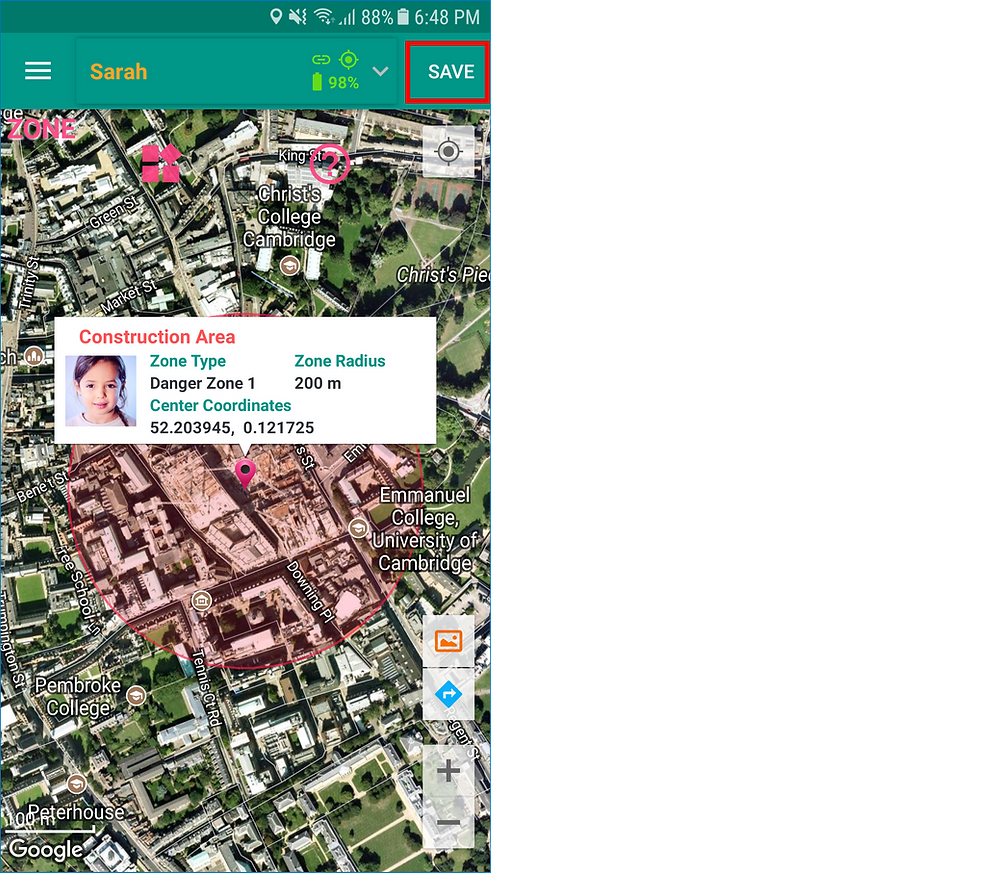GeoFamily Controller App User Saves Added Zone - Screen | GPS Tracking App